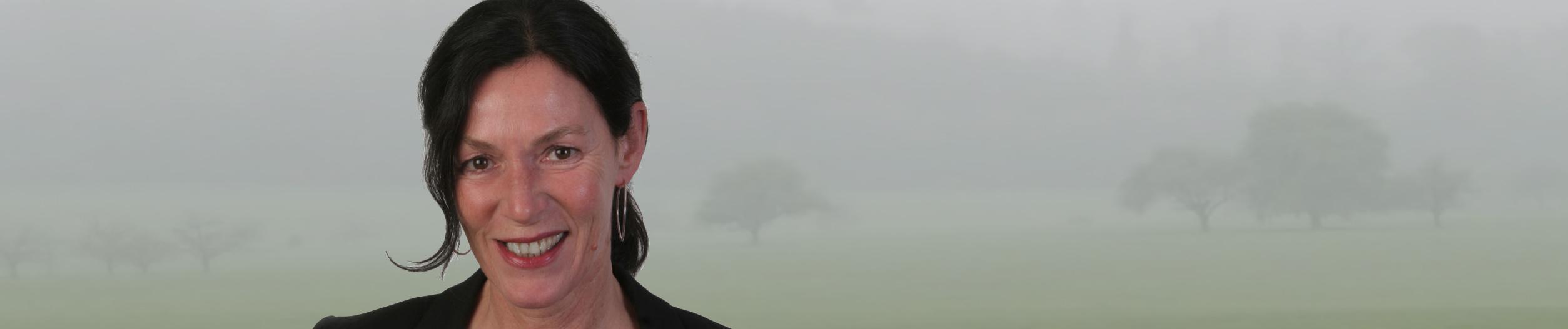 webagentur-mw-ueber-mich - das Bild zeigt ein Foto von Monica Wenczel vor einer nebligen Landschaft im Hintergrund