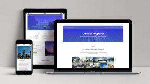 webagentur-mw-referenz-german-property - das bild zeigt ansichten von laptop, handy und tablet mit der website von german-property