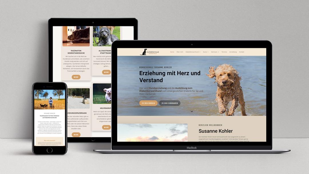 webagentur-mw-referenz-hundeschule-susanne-kohler - das bild zeigt ansichten von laptop, handy und tablet mit der website von hundeschule-susanne-kohler