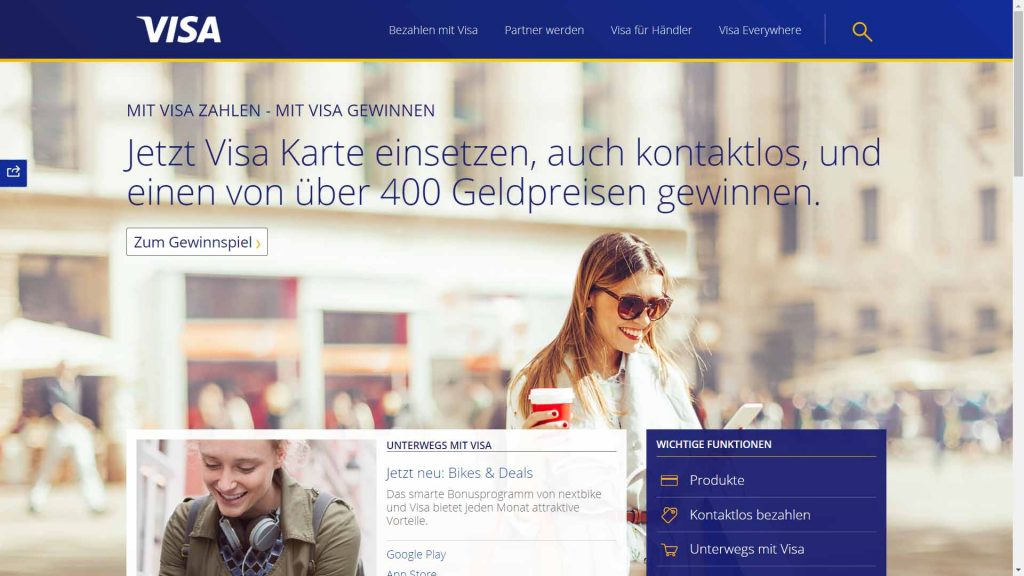 webagentur-mw - das bild zeigt die homepage der firma visa als beispiel für die farbe blau im webdesign