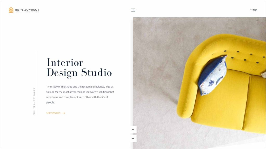 webagentur-mw - das bild zeigt die homepage der firma the yellow door als beispiel für die farbe gelb im webdesign