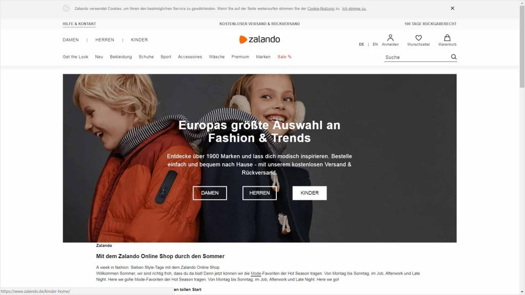 webagentur-mw - das bild zeigt die homepage der firma zalando als beispiel für die farbe orange im webdesign