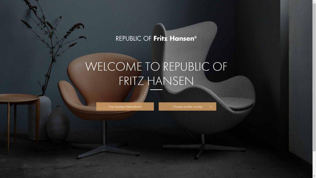 webagentur-mw - das bild zeigt die homepage der firma republic of fritz hansen als beispiel für die farbe schwarz im webdesign