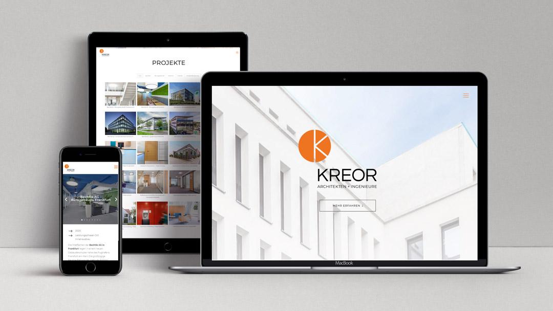 webagentur-mw-projekt-kreor-architekten-und-ingenieure - man sieht die Website von KREOR GmbH auf verschiedenen endgeräten