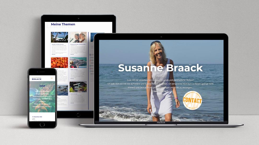 webagentur-mw-projekt-susanne-braack - man sieht den blog von susanne braack auf verschiedenen Endgeräten